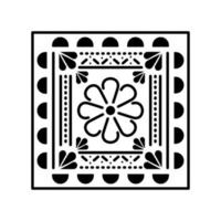 Mexican flower icon in square vector