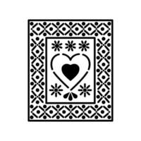 Mexican heart icons with small suns vector