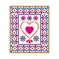 icono mexicano de un corazón con colores vector