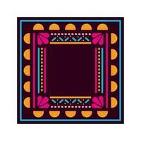 alfombra mexicana con marco cuadrado vector