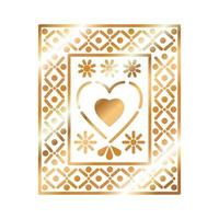 icono mexicano de un corazón con color dorado vector