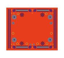 alfombra mexicana con marco floral vector