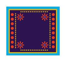 Mexican carpet with a floral frame vector