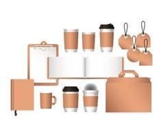 Diseño de bolsas de maquetas aisladas y tazas de café. vector