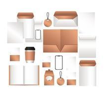 maqueta de sobres para teléfonos inteligentes y diseño de cuaderno vector
