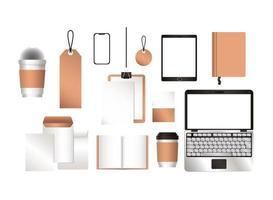 Mockup laptop tablet smartphone e identidad corporativa. vector