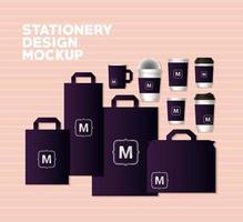 Bags and mugs mockup set with dark purple vector