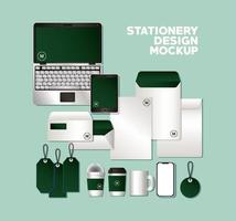 Mockup set with green branding design vector