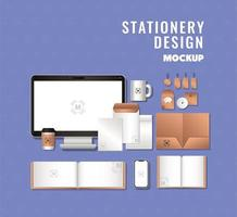 Computer and branding mockup set design vector