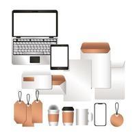 Mockup laptop tablet smartphone y conjunto de identidad corporativa vector