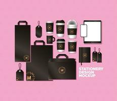 Bags and mugs mockup set with dark brown branding