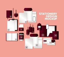Mockup set with dark red branding design vector