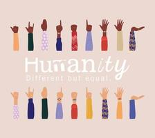 humanidad diferente pero igual y diversidad de manos