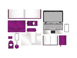 Mockup set with purple branding vector