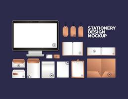 Computer and branding mockup set design
