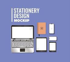 diseño de maqueta de portátil y marca vector
