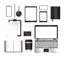 Mockup laptop tablet smartphone and set design