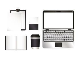 Mockup laptop and set with black branding design