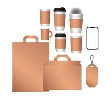 Mockup smartphone bolsas y diseño de tazas de café. vector