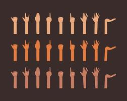 Hands up of different types of skins design vector