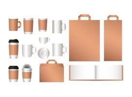 maqueta de bolsas de cuaderno y diseño de tazas de café. vector