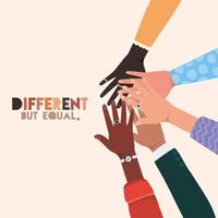 Different but equal and diversity skins hands touching vector