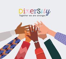 diversidad juntos somos más fuertes y manos tocadas vector