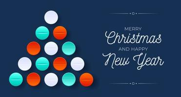 Creative medical Christmas tree shape with pill ornaments vector