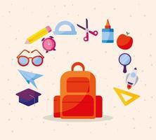 bolso con conjunto de iconos de regreso a la escuela