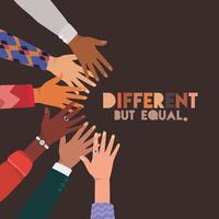 pieles diferentes pero iguales y diversas manos tocándose