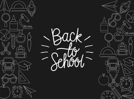 Chalk icon set of black to school board