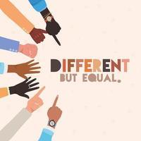 diferentes pero iguales y diversidad pieles manos letreros diseño