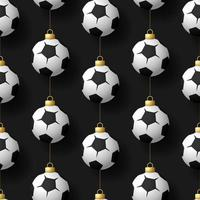Christmas hanging football or soccer ball ornaments seamless pattern