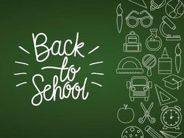 Chalk icon set of back to school board