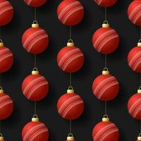 Christmas hanging cricket ball ornaments seamless pattern
