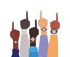 Number one sign with hands of different types of skins vector
