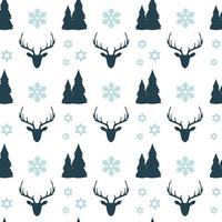 Christmas seamless pattern with deers, snowflakes and trees vector