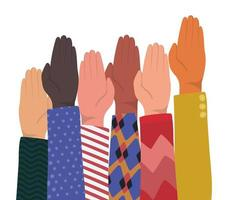 Up closed palm of different types of skins vector