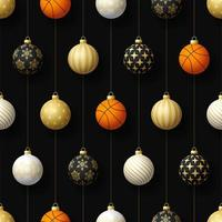 Christmas hanging ornaments and basketball seamless pattern