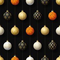 adornos navideños colgantes y patrones sin fisuras de baloncesto