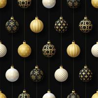Christmas black, white, gold hanging ornaments seamless pattern vector