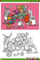 Easter bunnies holiday characters coloring book page
