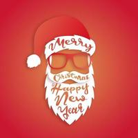 Paper art Santa Claus with lettering Merry Christmas