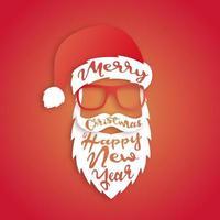 arte de papel santa claus con letras feliz navidad vector