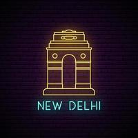 Delhi gate neon sign. vector