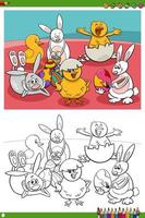 Easter holiday characters coloring book page.