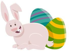 Cartoon Easter bunny with colored eggs vector
