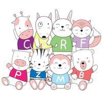 boceto de dibujos animados de lindos animales bebé en camisetas