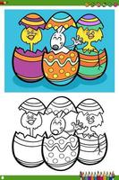 Easter holiday characters coloring book page