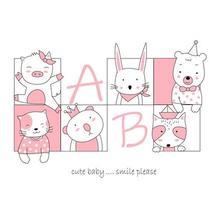 dibujados a mano lindos animales bebé en marcos cuadrados